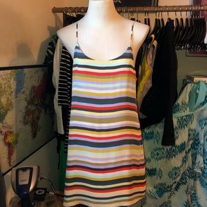 ALICE & OLIVIA RAINBOW STRIPED SILK CAMI DRESS L